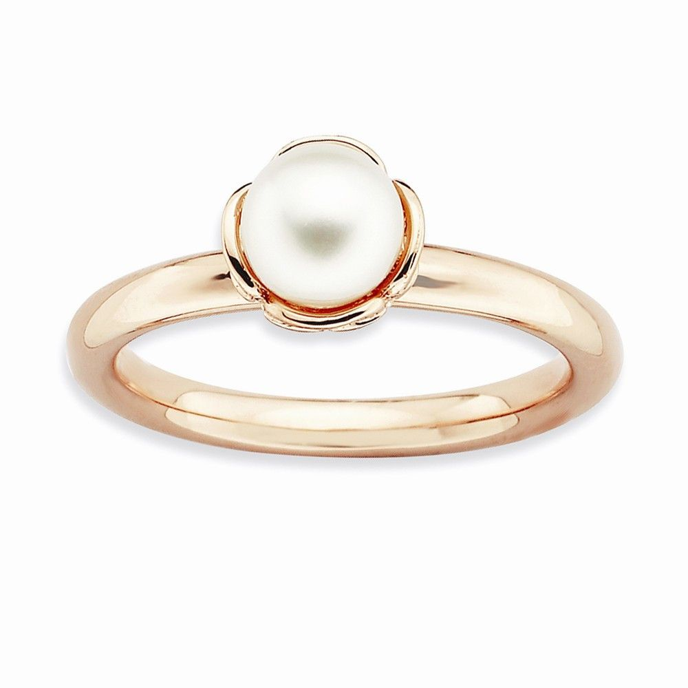 Sterling Silver Stackable Expressions White Pearl Pink-plated Ring – Goldia.com