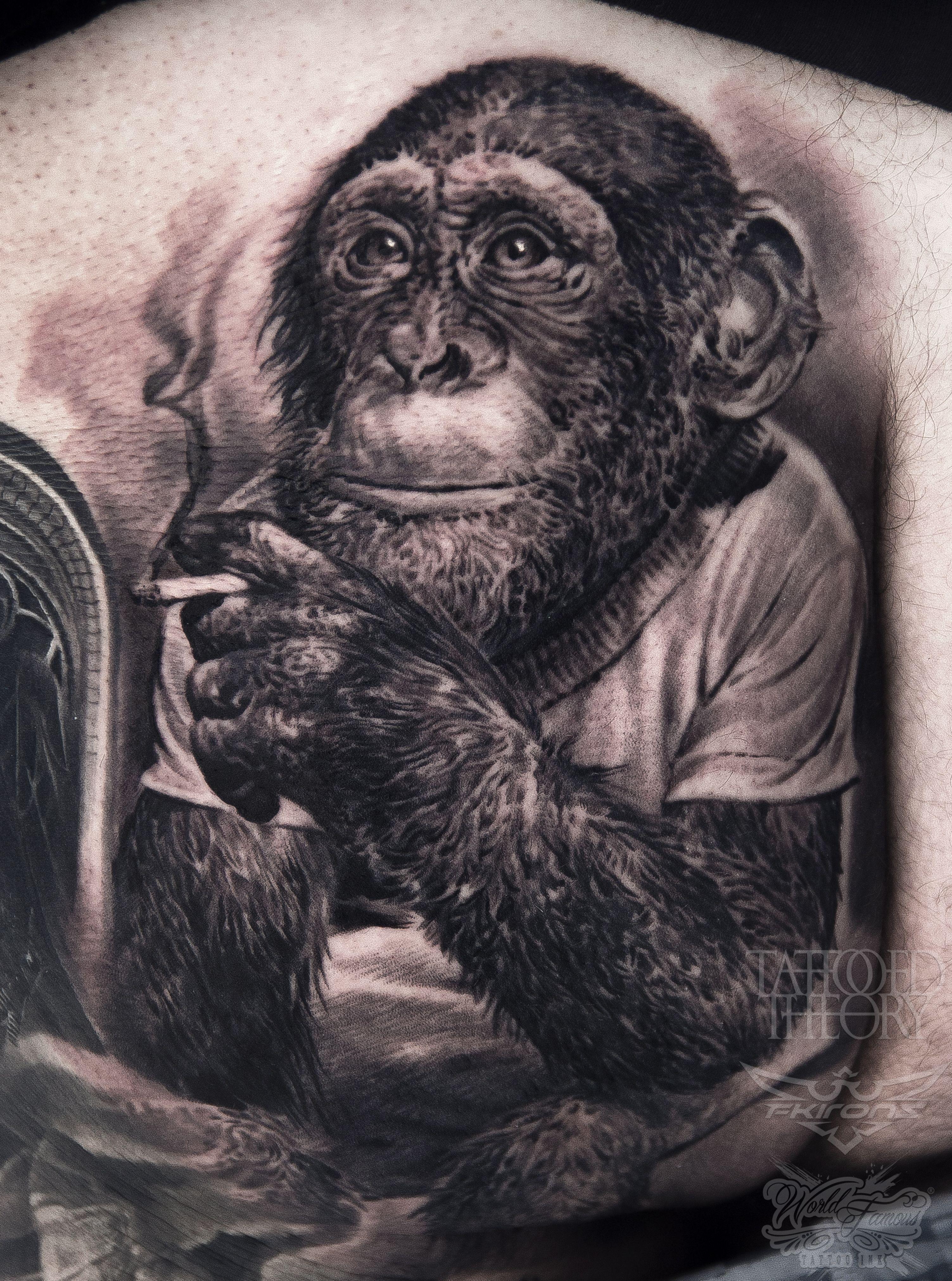 aa85de4fafa97 A cheeky monkey on a cheeky monkey's cheek! Chimpanzee Smoking Tattoo by  Javi Antunez owner and artist of Tattooed Theory