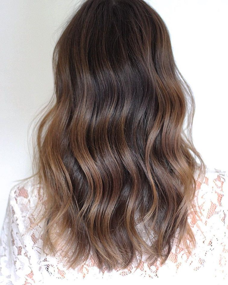 Balayage rich brunette hair color