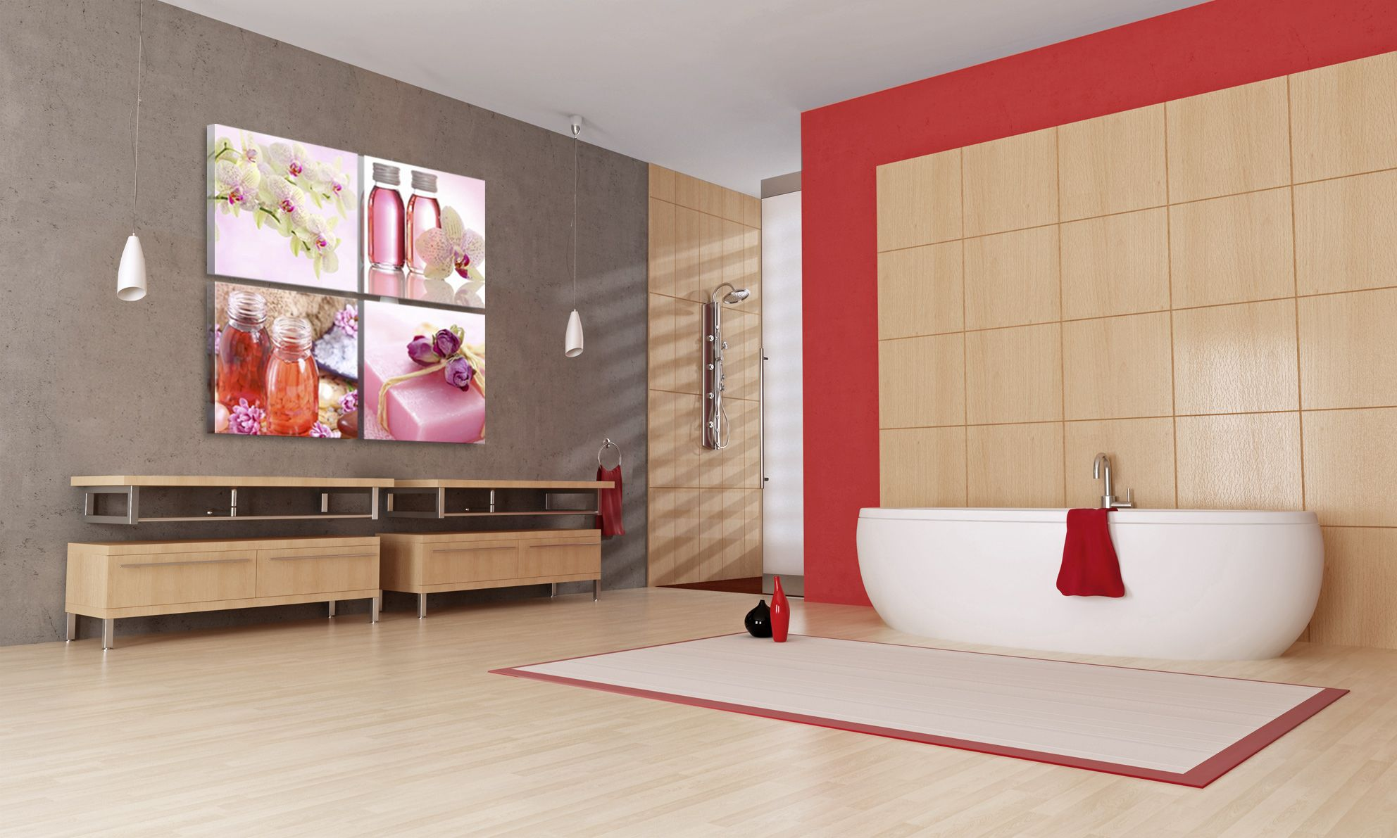 Quadri Per Bagno Moderno quadro contemporaneo rosa rilassante | design del bagno