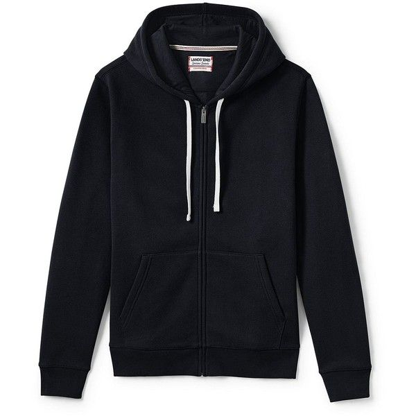 9c0357fe Lands' End Men's Tall Long Sleeve Sweats Full-zip Hoodie - Serious ($60) ❤  liked on Polyvore featuring men's fashion, men's clothing, men's hoodies,  black, ...