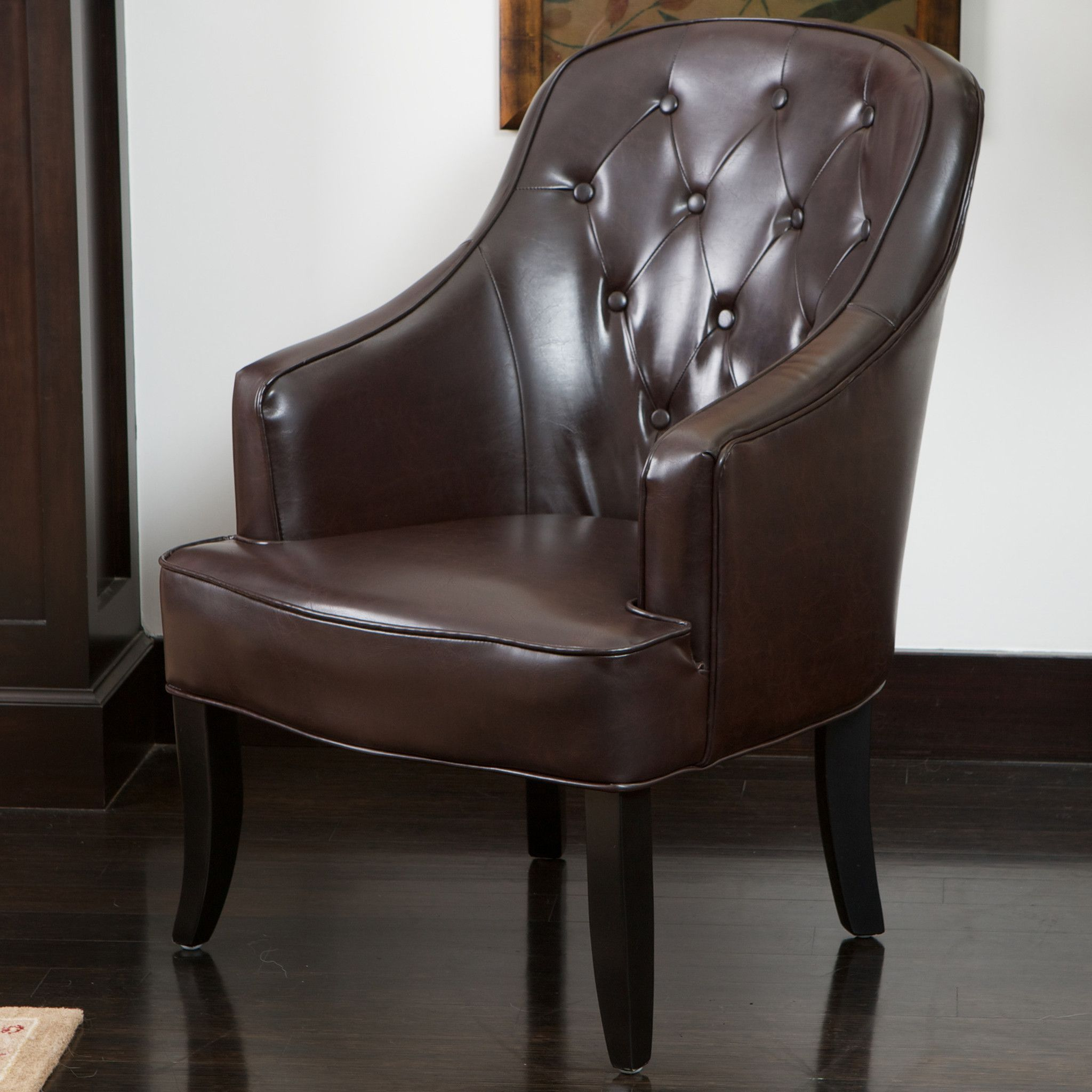 Best Ethan Brown Leather Accent Chair Accent Chairs Leather 400 x 300