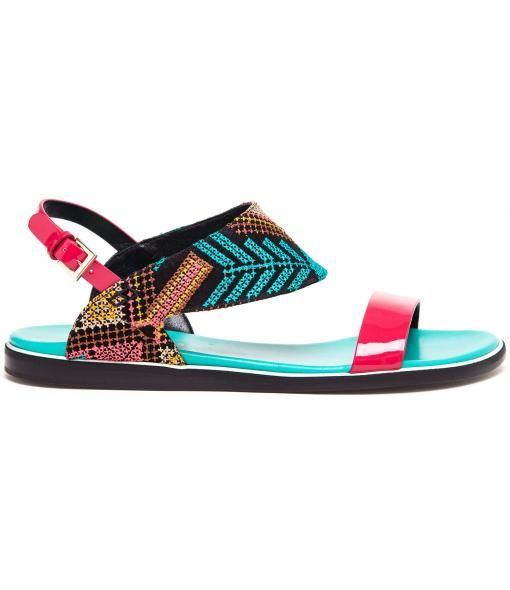 Leather and Embroidered Sandals