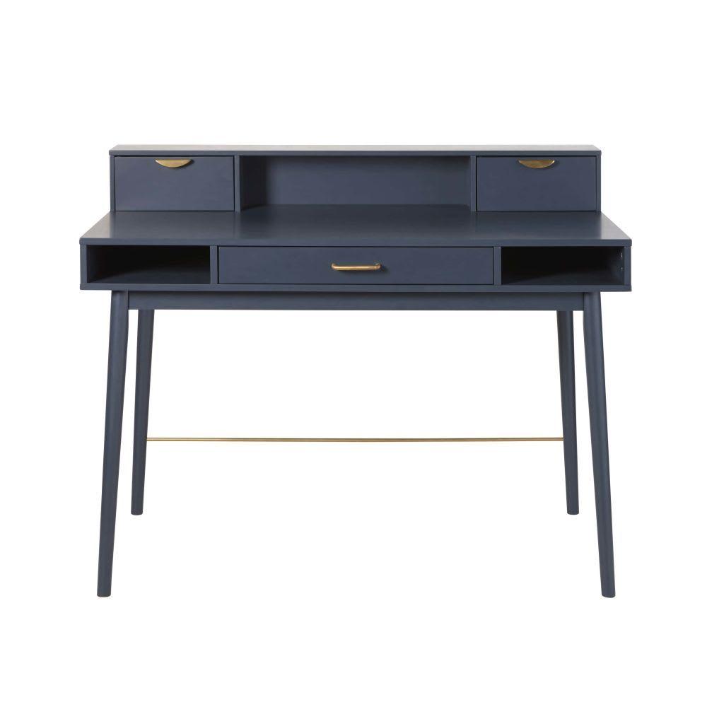 Bureau Vintage 3 Tiroirs Bleu Fonce Penelope Desk With Drawers Blue Desk Blue Vintage Desk