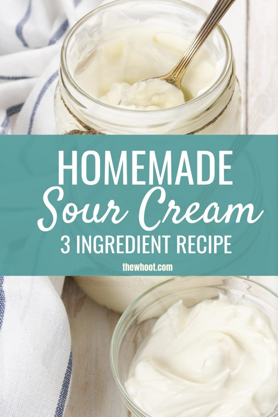 Homemade Sour Cream Recipe 3 Ingredients Video In 2020 Homemade Sour Cream Sour Cream Recipes Homemade Cream Recipe