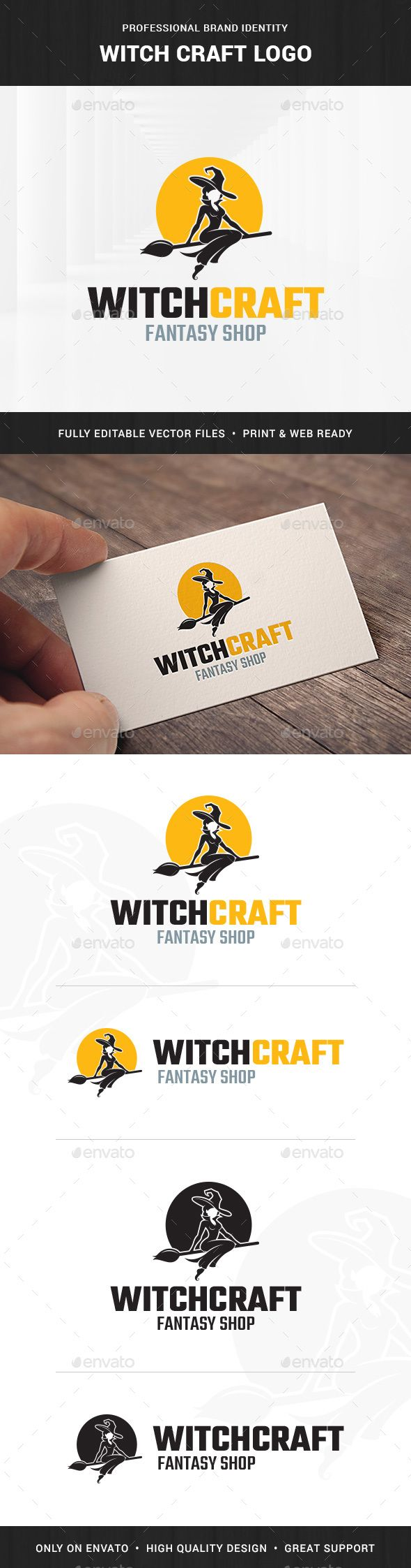 Witch Craft Logo Template PSD, Transparent PNG, Vector EPS, AI Illustrator. Download here: http://graphicriver.net/item/witch-craft-logo-template/16660507?ref=ksioks