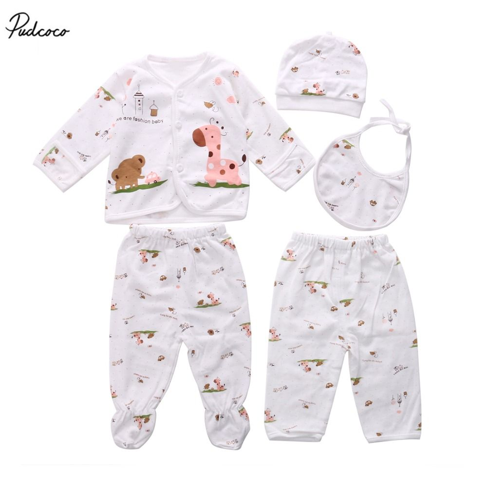 Click To Buy 5pc Infant Boby Clothes Sets Cotton Newborn Baby Clothes Sets Hat Tops Long Slee Boys And Girls Clothes Baby Outfits Newborn Newborn Fashion