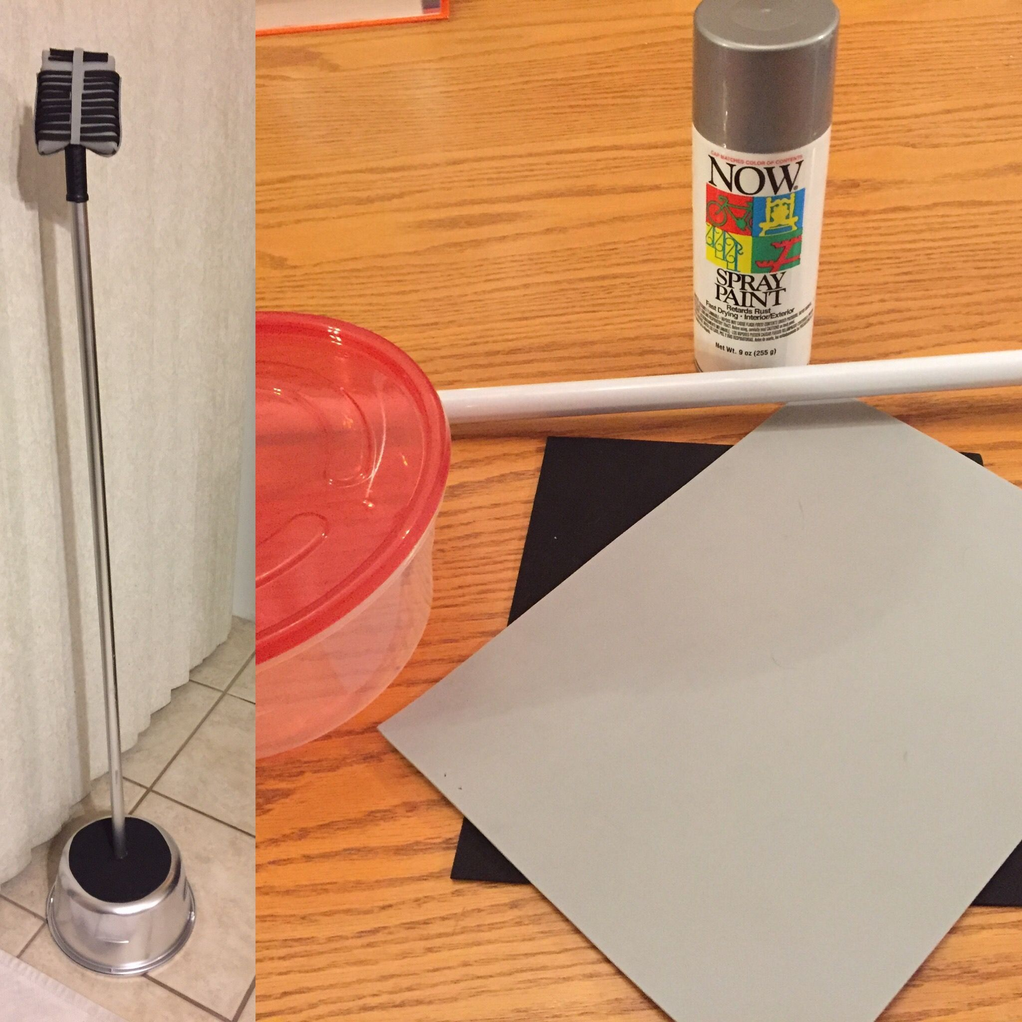 Diy microphone for costume dollar store broom handle plastic diy microphone for costume dollar store broom handle plastic dish sprayed with silver spray doublecrazyfo Image collections