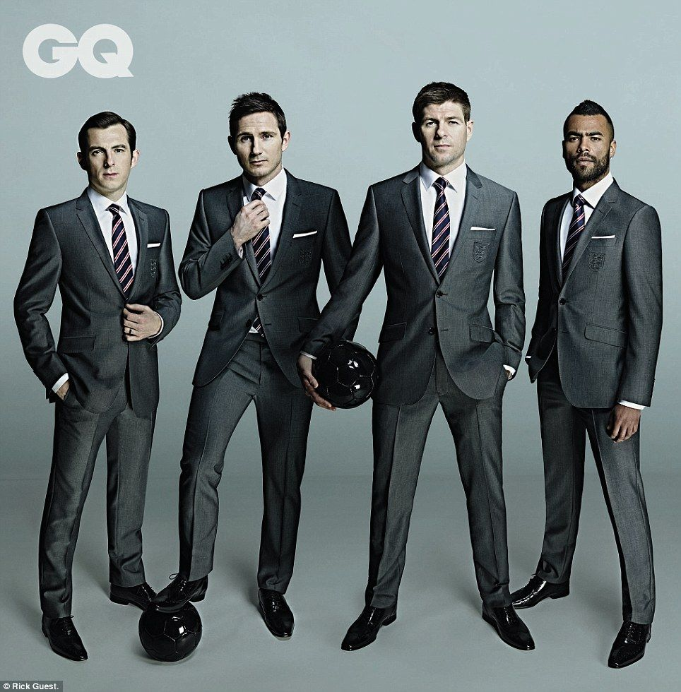 Gerrard and Co show off England s Marks and Spencer World Cup suits ... 9f8b174ca41
