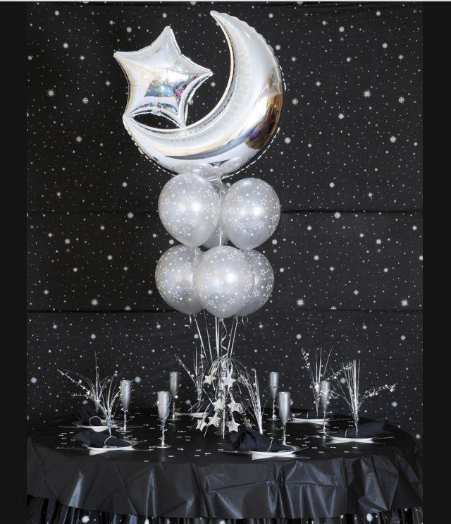 Moon star balloon centerpiece band stuff pinterest
