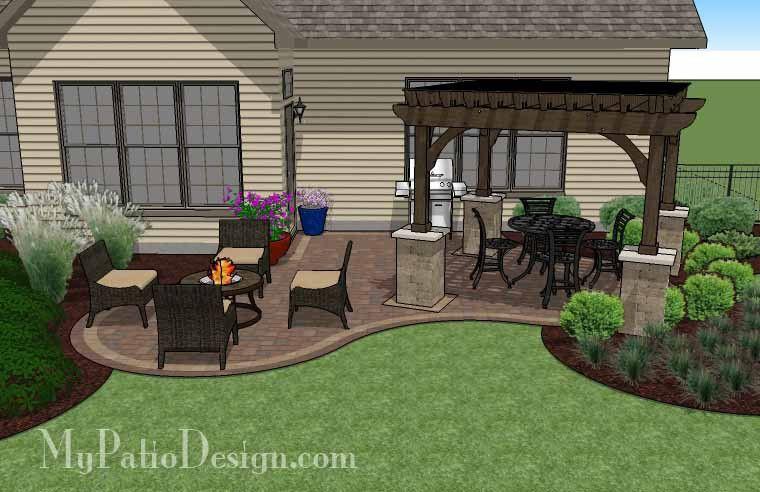 small outdoor living patio design with pergola mypatiodesign com