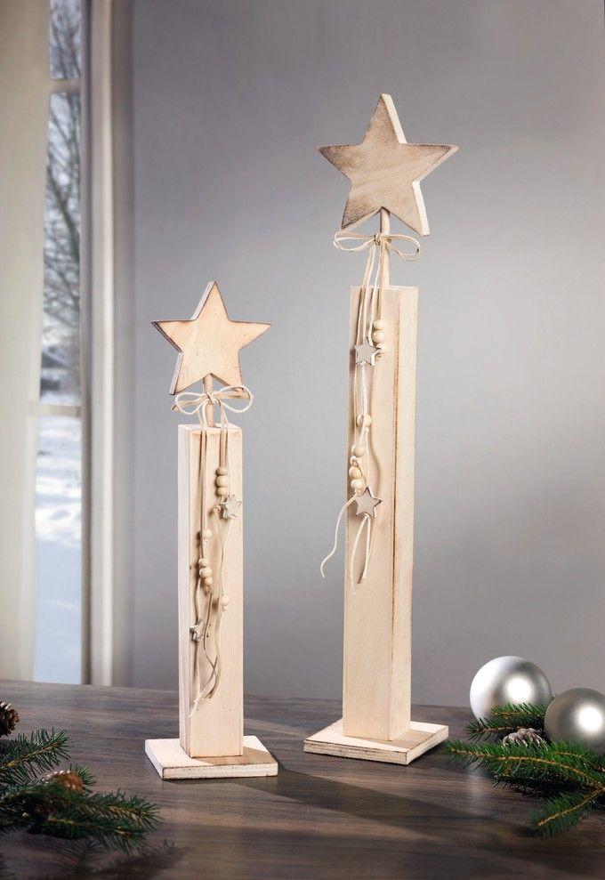 Deko Saule Stern 2er Set Holz Basteln Weihnachten