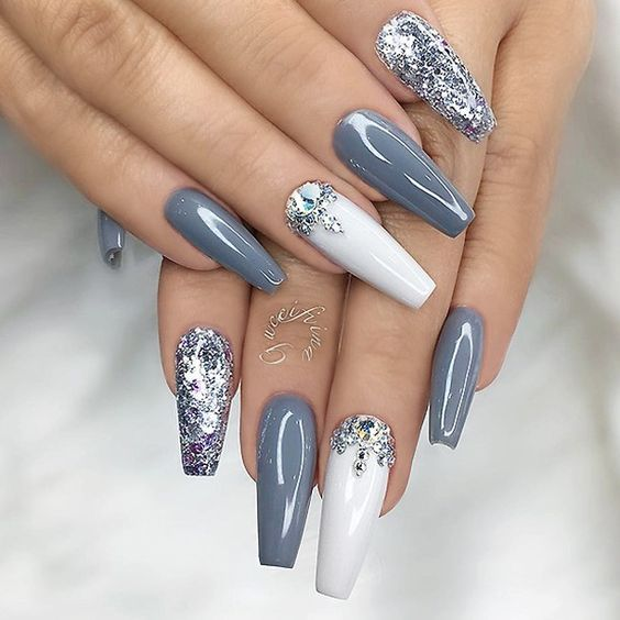 Repost Grey Silver Glitter White And Crystals On Long Coffin Nails Pict With Images Coffin Nails Designs Coffin Nails Long Gorgeous Nails
