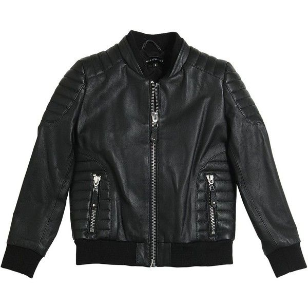 John Richmond Kids-boys Faux Leather Jacket (2.775 NOK) ❤ liked on Polyvore featuring black