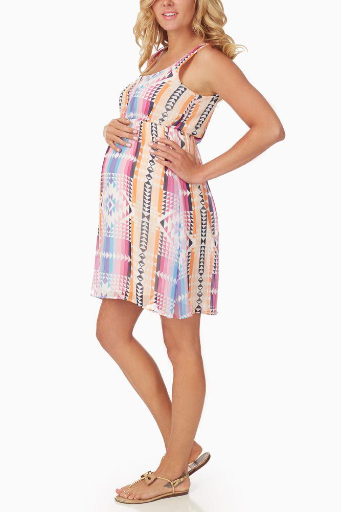 Pink-Multi-Colored-Tribal-Print-Maternity-Dress - $39