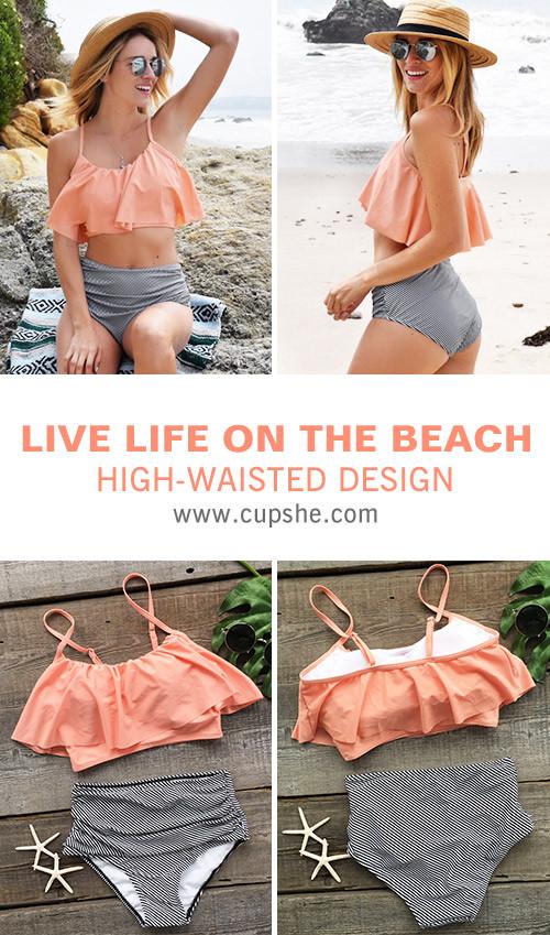 3b8379a545 Treat yourself something special~ Cute soft piece as Cupshe Seaside Gale  Falbala High-waisted Bikini Set! It features cute falbala design and  adjustable ...