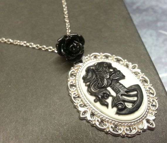 Black Skull Cameo Necklace by PurrfectPendant on Etsy