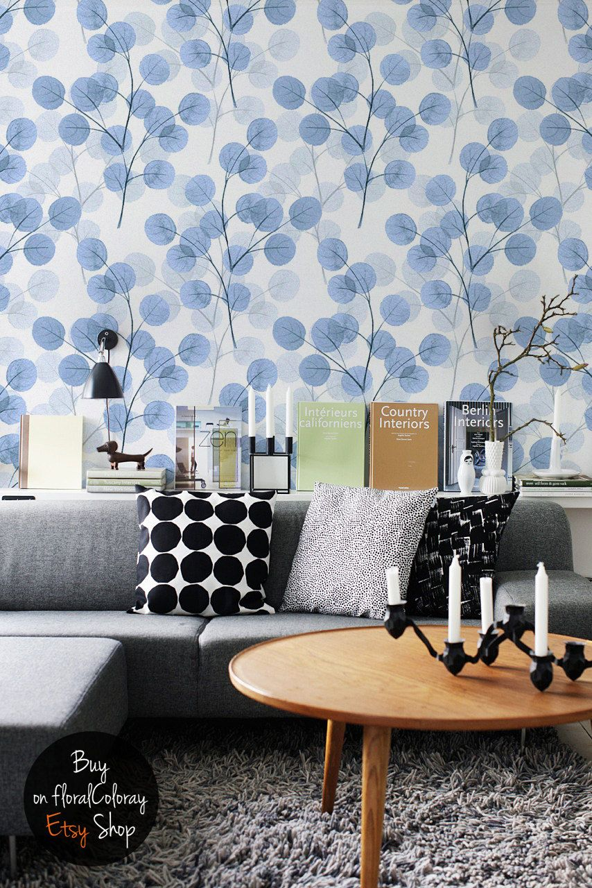 Field Of Cotton Removable Wallpaper Blue Branches Pattern