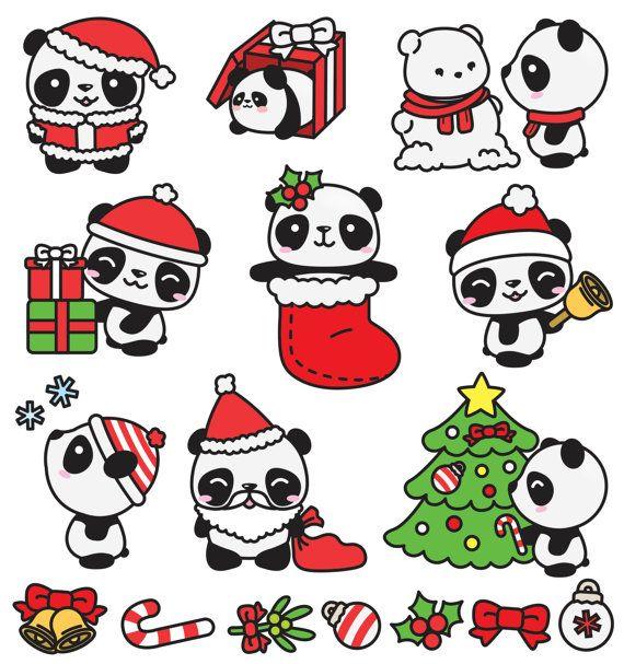 Immagini Natalizie Kawaii.Premium Vector Clipart Kawaii Christmas Pandas Cute Christmas