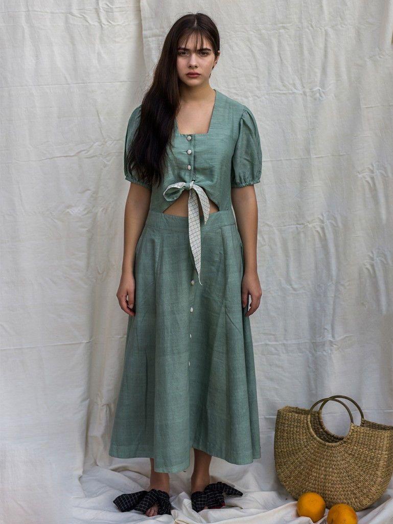 d03f5b5a79 Green Khadi Dress