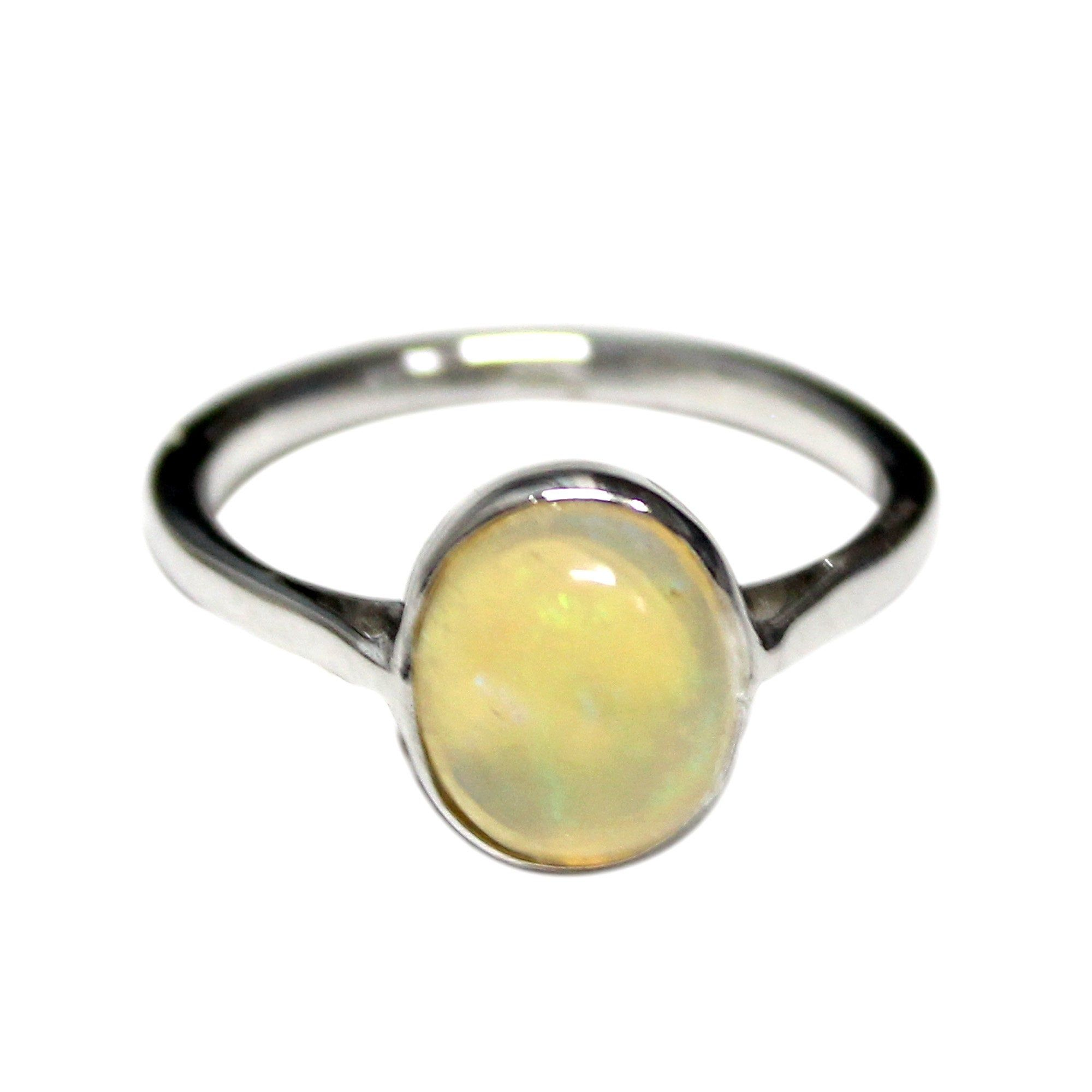 Opal Ring - 925 Sterling Silver - Opal Gemstone Stackable Rings - Dainty Ring - Opal Promise Ring