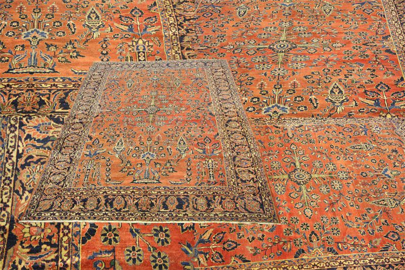 This Irresistible Antique Handmade Wool Persian Lillian Sarough Carpet Combines Rarity Of Its Design With Decorative Colours In Spectacular Fashio Vintage Carpet
