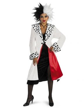 bring out your cool yet cruel side with this cruella prestige costume for women this halloween idea is so realistic that you will be looking over your