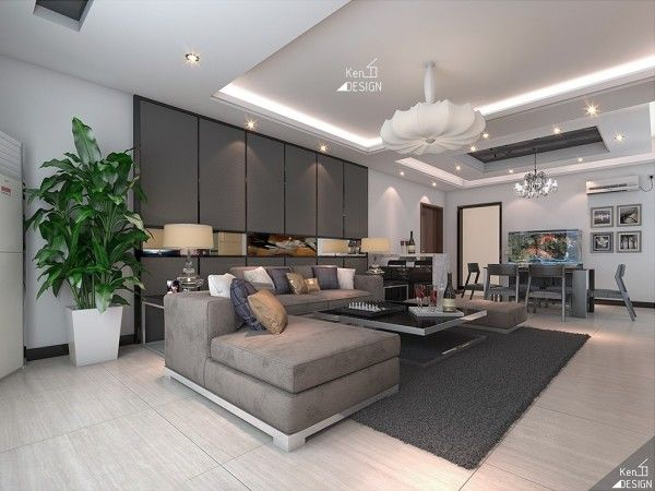 Urban Decorating Ideas For The Living Room : Exquisite Urban Living Room  Design With Grey Sectional Sofa And Modern Black Coffee Table Also Dark Grey  Rug ...