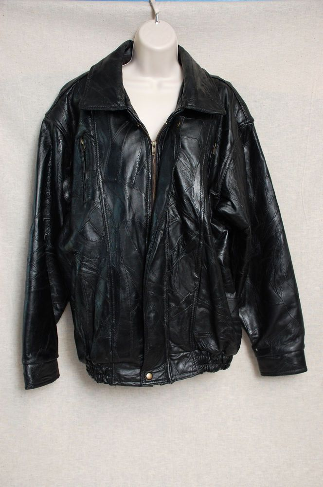 c9c14363c Details about Mens American Style Bomber Genuine Leather Jacket ...
