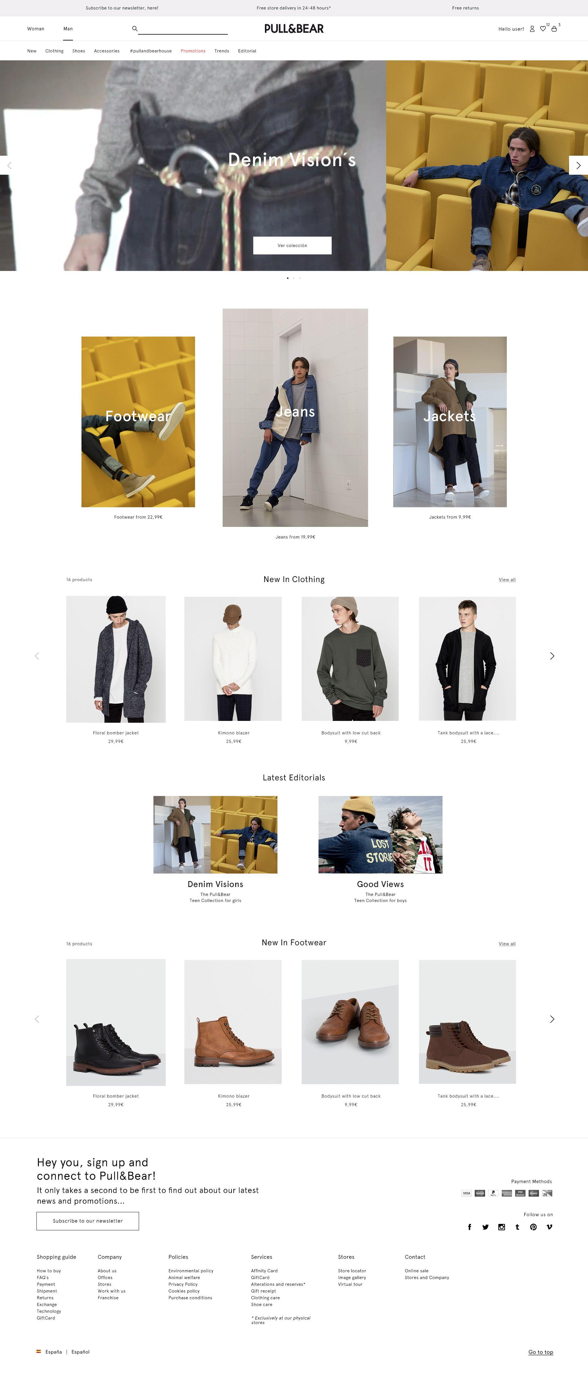 Diseno De Portada Para La Web De Pull Bear Version Man Fashion Layout Shopping Fashion