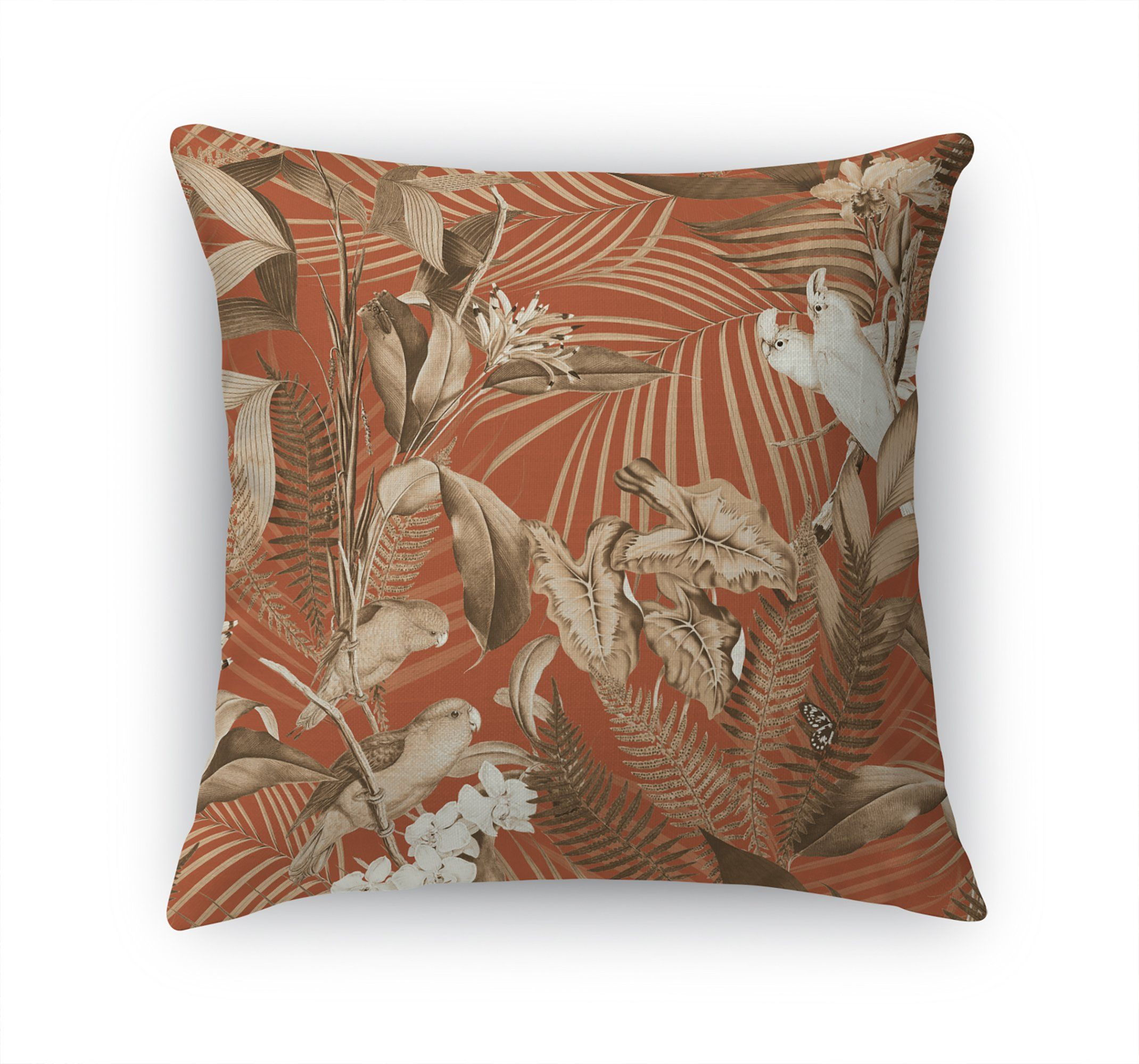 TROPICAL JUNGLE DARK CORAL Accent Pillow By Marina Gutierrez – 18in x 18in