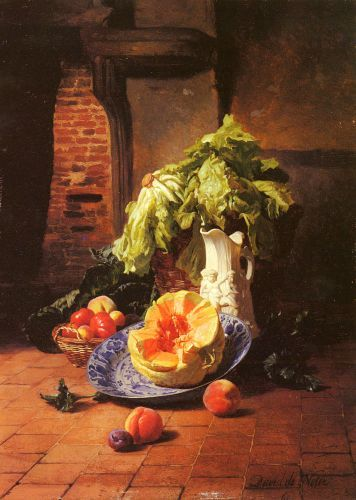 A Still Life with a White Porcelain Pitcher, Fruit, and Vegetables by David Emil Joseph de Noter (1818-1892), Oil on Panel, 38,5 x 28 cm, Private Collection.