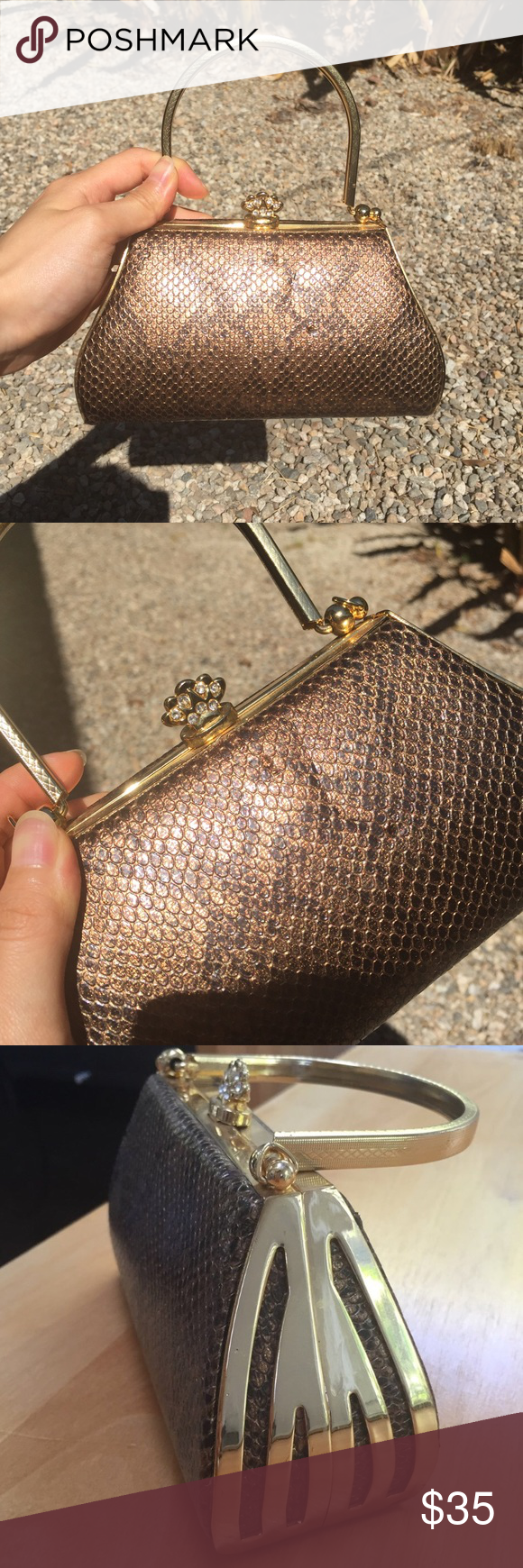 Vtg Gold Faux Snakeskin Clutch Purse Vtg faux snakeskin clutch and it looks so realll..it also has a cute little princess crown at the top for opening and closing. Pristine condition. Used once. Bags Clutches & Wristlets