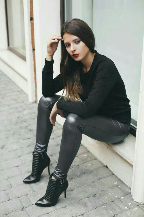 heels, Outfits with leggings, Leather