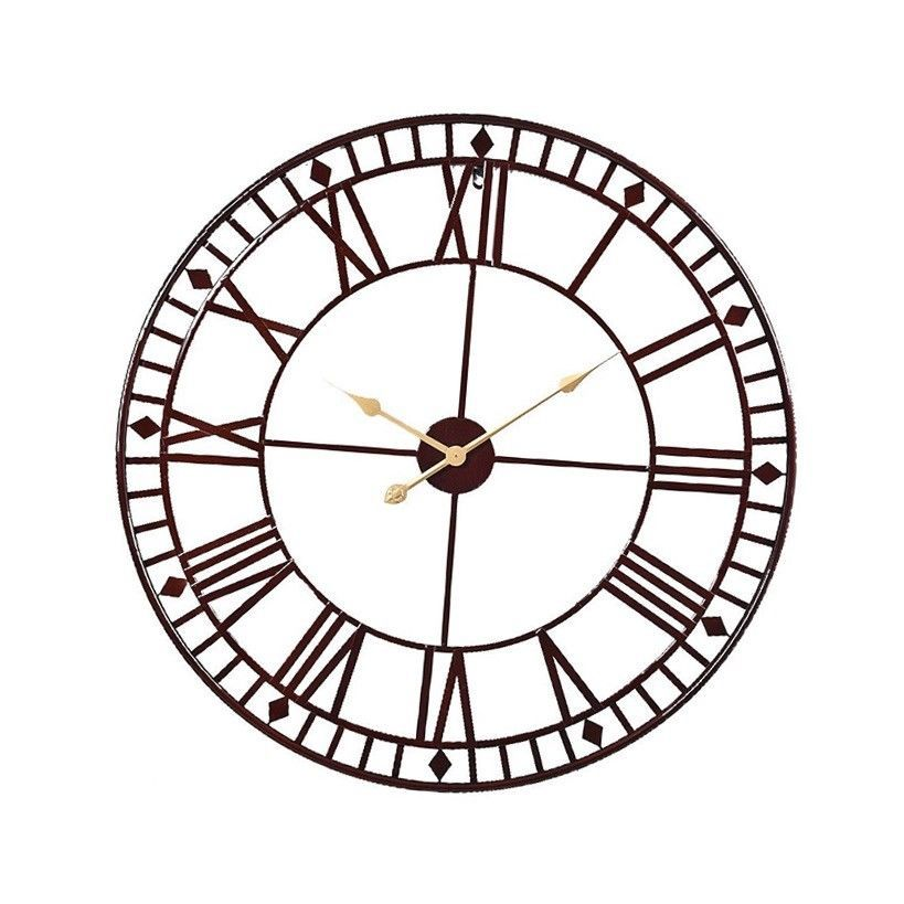 80cm Extra Large Skeleton Frame Roman Numeral Wall Clock Vintage