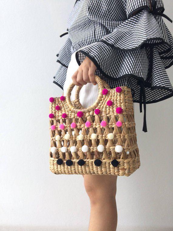 PRE-ORDER (Mama) mini pom pom Woven Bag, Straw Bag, Beach Bag, Straw Hand bags, Straw Tote, Straw purse, Boho Bags seagrass bag wicker bag