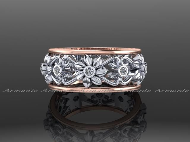 Leaf and Flower Unique Wedding Band Diamond Band Engagement Ring