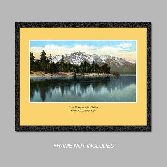 Postcard Wall Art - Lake Tahoe and Mt. Tallac - 8x10 Poster Print ...