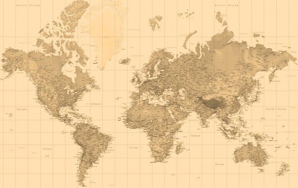 Sepia World Map Wallpaper In 2019