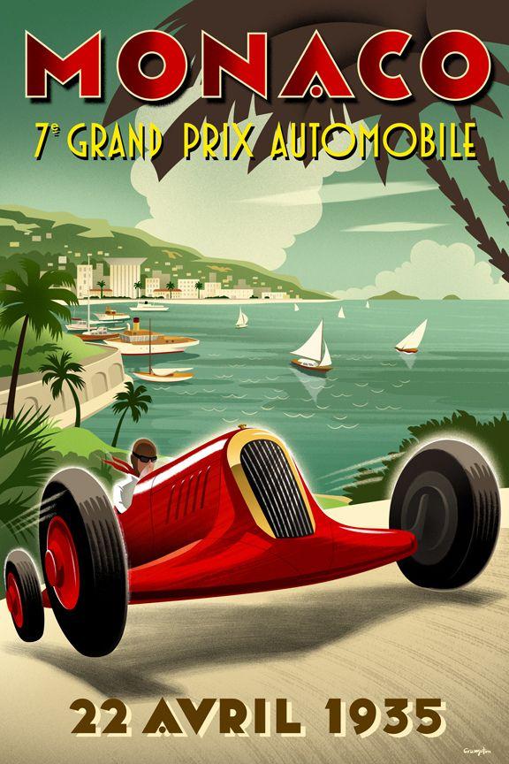 Cool Retro Auto Racing Poster Monaco Grand Prix Posters Grand Prix Posters Racing Posters