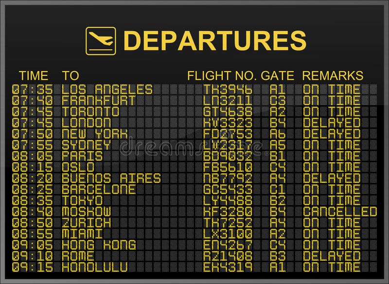 International Airport Departures Board This Illustration Shows An International Sponsored Board Illus Departures Board International Airport Departures