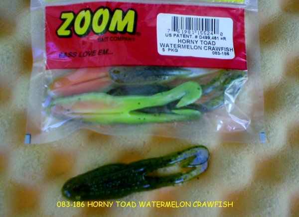 Zoom horny toad soft plastic frog fishing bait soft for Zoom fishing lures