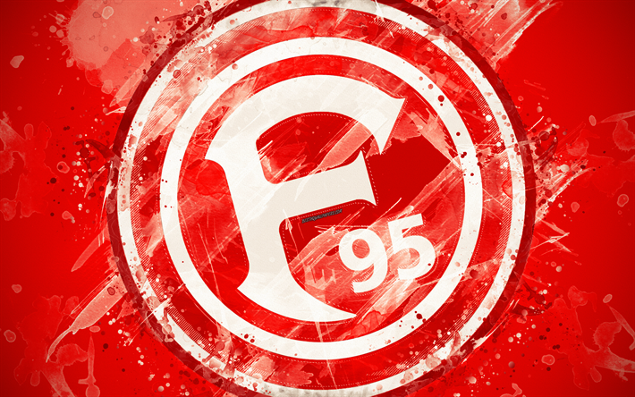 Download wallpapers Fortuna Dusseldorf FC, 4k, paint art, logo, creative, German football team, Bundesliga, emblem, red background, grunge style, Dusseldorf, Germany, football