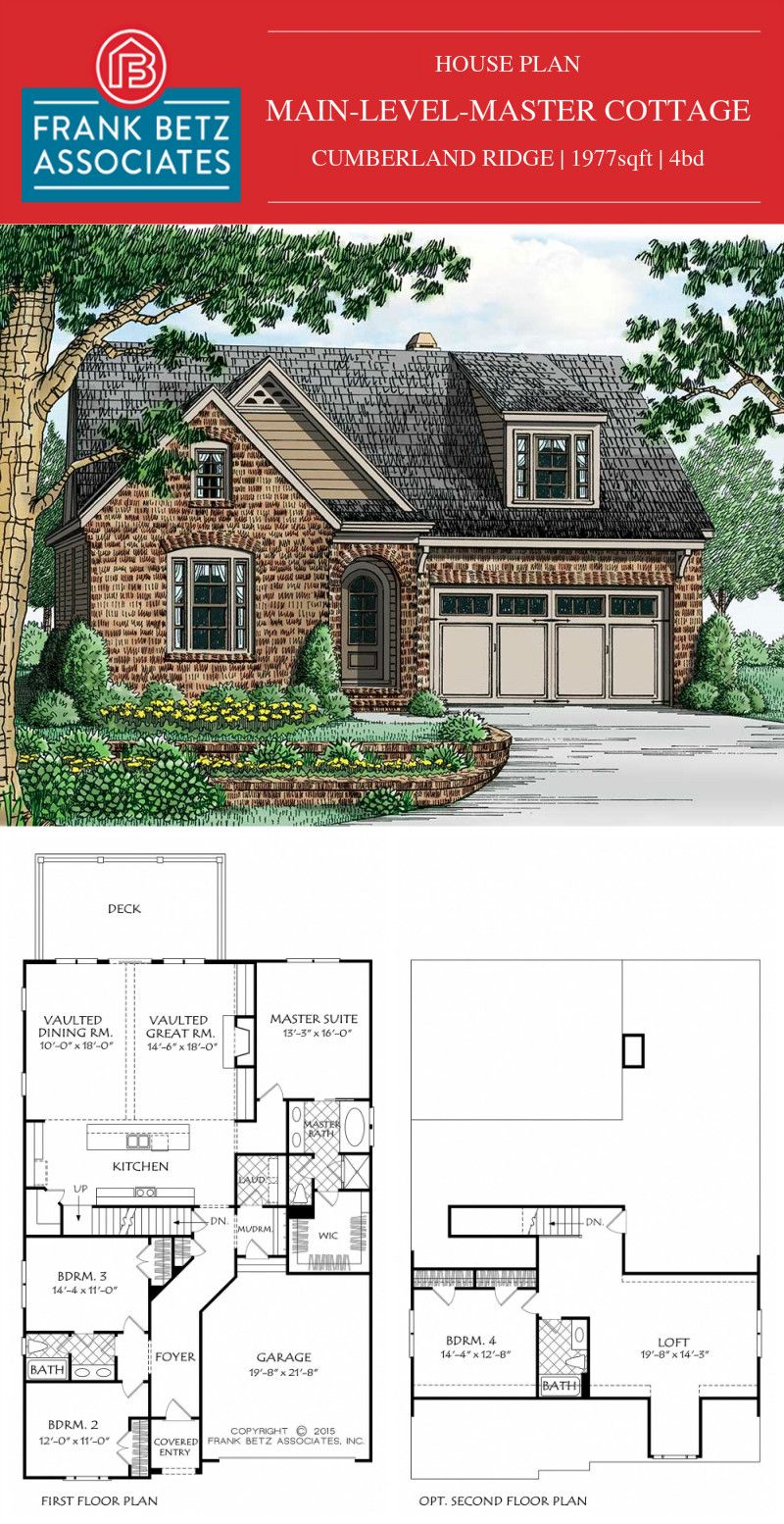 Cumberland Ridge Is A Cottage Style Mainlevelmaster Frankbetz Plan That Has An Cottage House Plans House Floor Plans Floor Plans