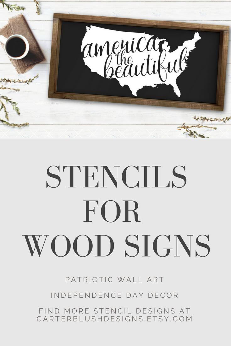 Usa Wood Sign Stencil Vinyl Stencil Diy Wood Sign Stencil