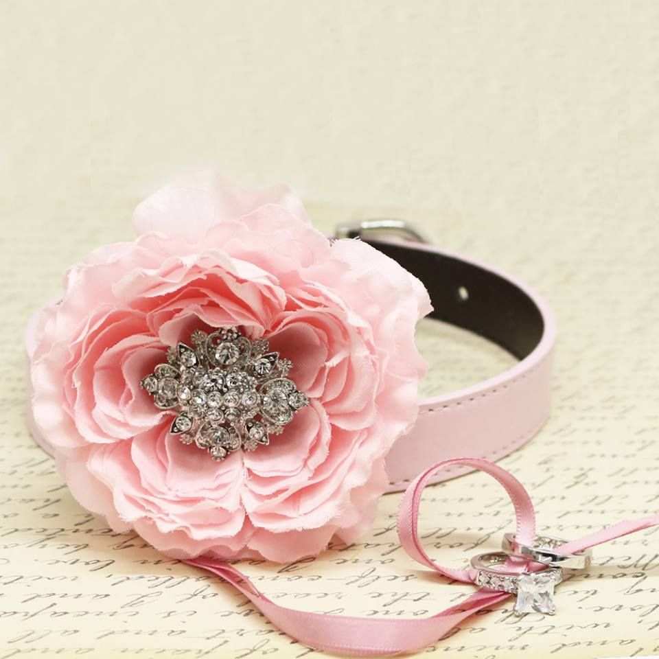 Pink Peony Flower Ring Bearer Dog Collar, Pet Wedding, Puppy ...