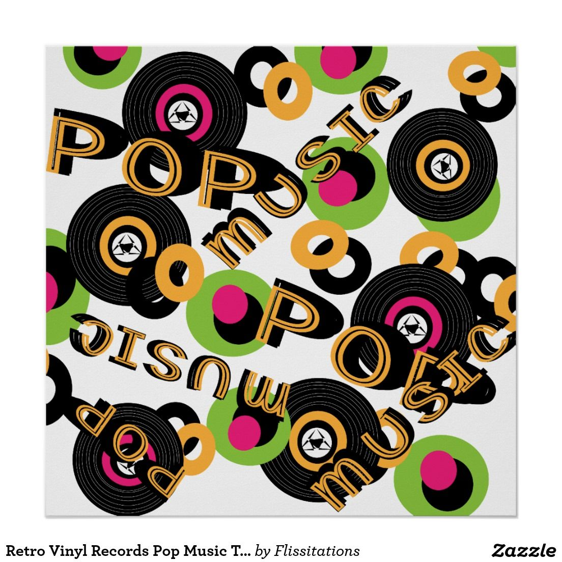 Retro Vinyl Records Pop Music Theme Poster