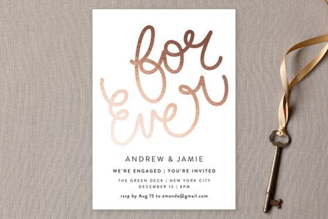 For Ever - Customizable Engagement Party Invitations in Black by Phrosne Ras.