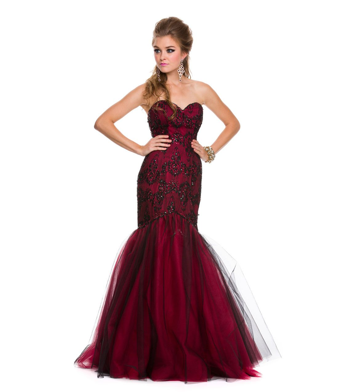 2014 prom dresses red amp black strapless mermaid gown