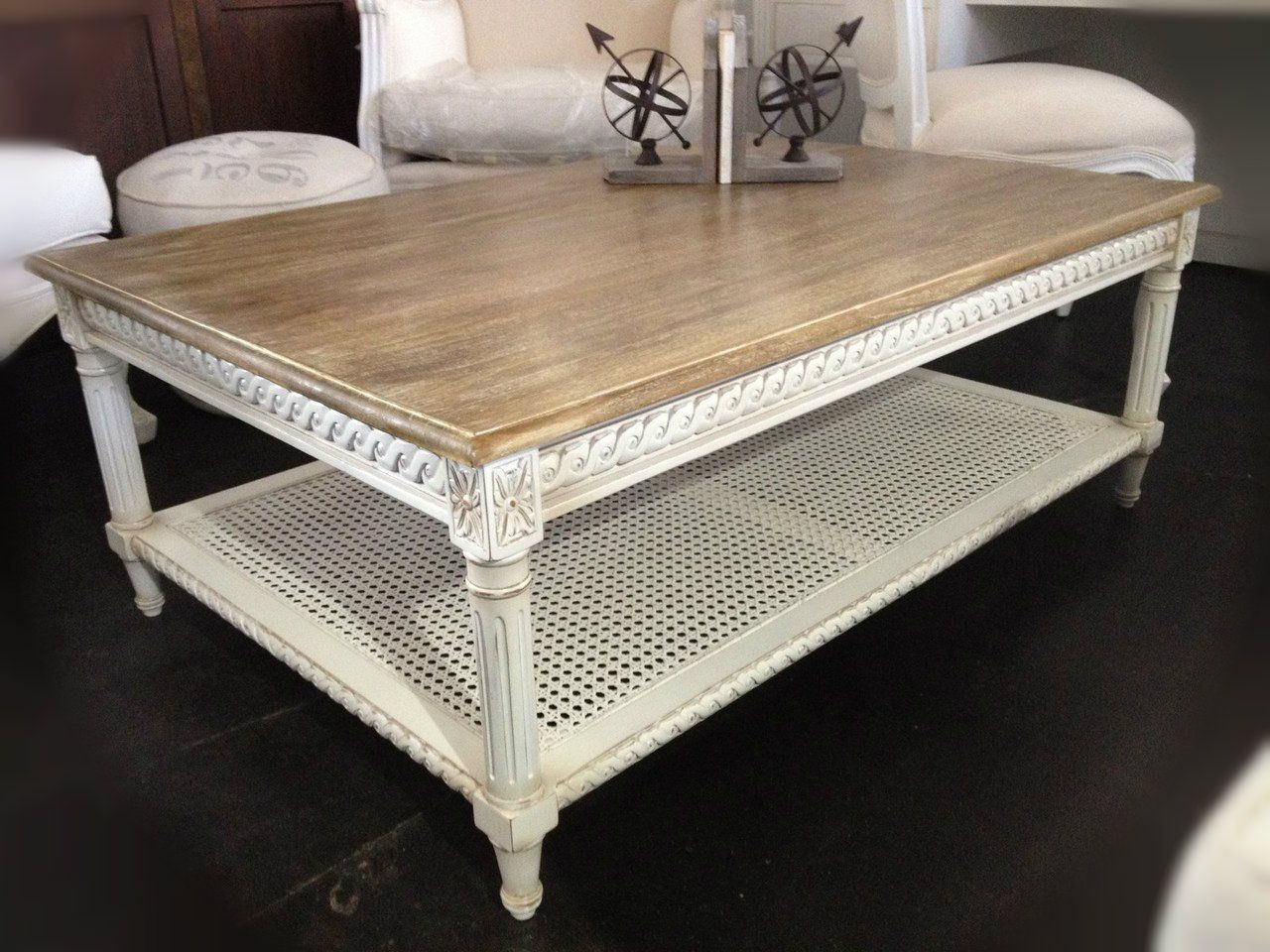 Hamptons Rattan Coffee Table Distressed White with Limewash Top